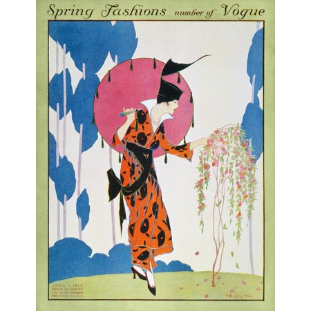 Vogue Magazine Cover 1914 NVogue Magazine Cover April 1914 Featuring The Spring Fashions Rolled Canvas Art -  (24 x 36)