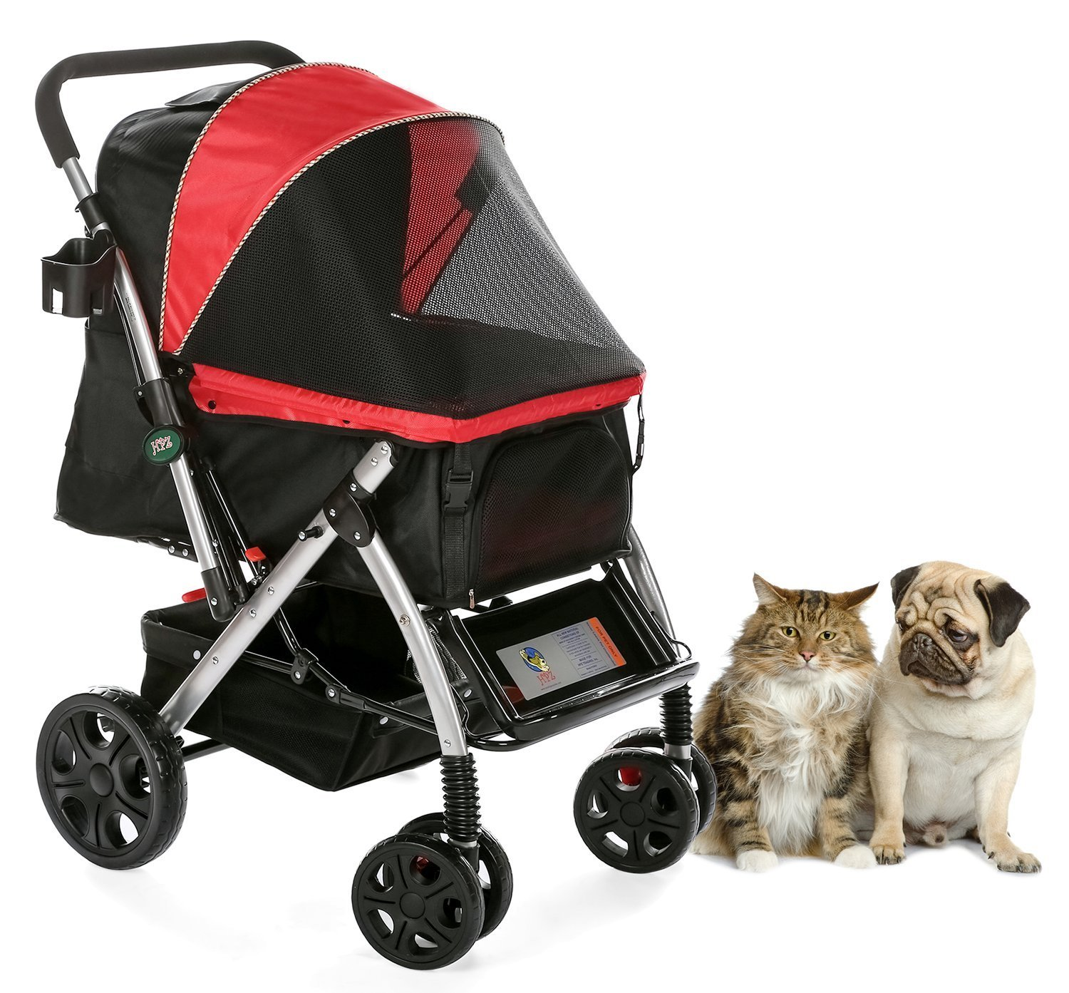 HPZ Pet Rover Premium Heavy Duty Dog/Cat/Pet Stroller Travel Carriage With Convertible Compartment/Zipperless Entry/Reversible Handle Bar/Weather Resistance for Small, Medium and Large Pets - RED