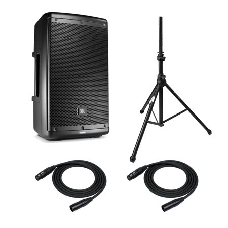 jbl eon610 10 two way pa system with on stage speaker stand and xlr cables. Black Bedroom Furniture Sets. Home Design Ideas