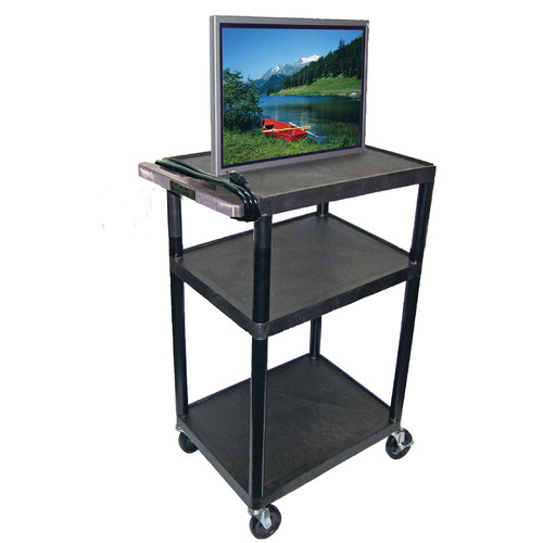 Luxor 3-Shelf A/V Cart with Electric, Black