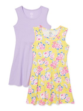 Wonder Nation Girls 4-18 & Plus Spring Summer Tank Play Dress, 2-Pack