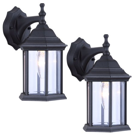 2 Pack of Exterior Wall Light Fixture Outdoor Sconce Lantern, Black 01 Exterior Wall Sconce