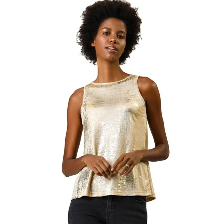 Neckline Camisole - Allegra K Women's Metallic Shiny Tank Top Party Club A-Line Shimmer Camisole Vest (Size XL / 18) Gold