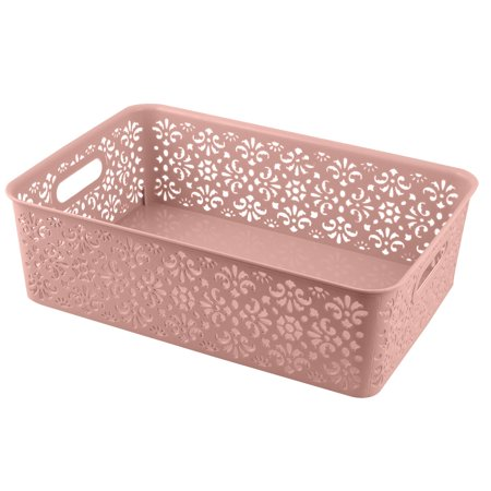 Home Plastic Flower Pattern Hollow Out Storage Box Organizer Basket Light Purple