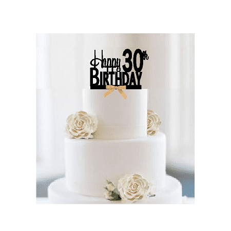 Item#030CTGR - Happy 30th Birthday Elegant Cake Decoration Topper with Gold Bow](30th Birthday Cake Toppers)