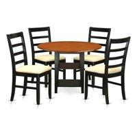 East West Furniture SUPF5-BCH-C 5 Piece Sudbury Set, Black & Cherry