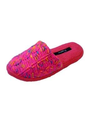 Cejon Womens Pink & Neon Yarn & Velvet Slippers Scuffs