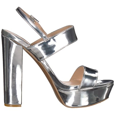 904d47e8279 Qupid Women s Shiny Silver High Heeled Sandal Open Toe Platform Shoes Size  6 - image 1 ...