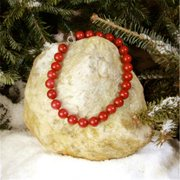 Betty Rocks BNKDRJ101160016T1 16 in. 16mm Round Dyed Red Jade Necklace