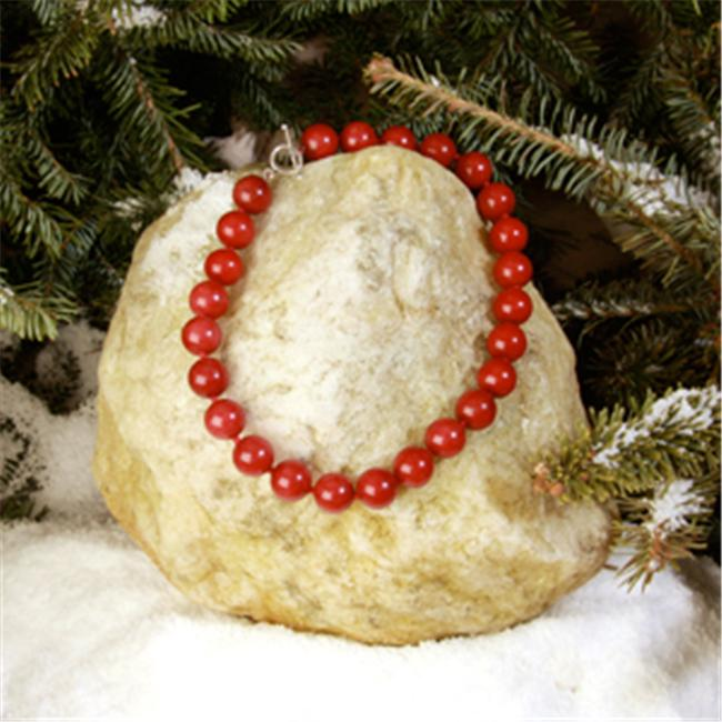 Betty Rocks BNKDRJ101160016T1 16 inch 16mm Round Dyed Red Jade Necklace