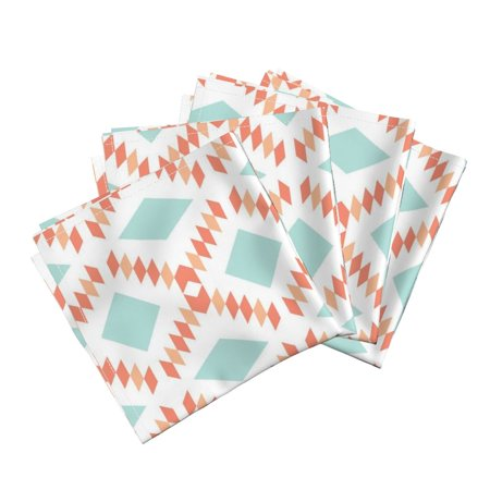Geometric Aztec Diamonds Coral Aqua Cotton Dinner Napkins by Roostery Set of