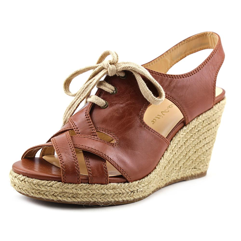 Bella Vita Gracia Women Open Toe Leather Brown Wedge Sandal by Bella Vita