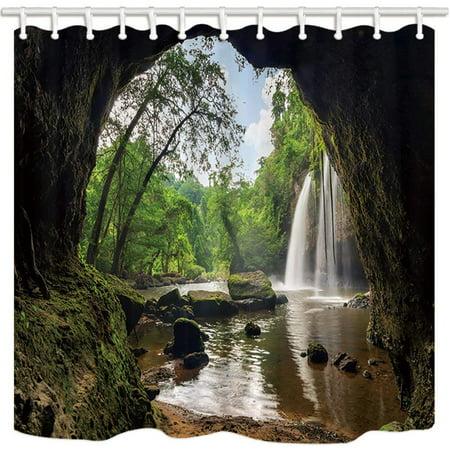 RYLABLUE Landscape Beautiful Natural Karst Cave Falls Creek Farmhouse Polyester Fabric Bathroom Shower Curtain 66x72 inches - image 1 de 1