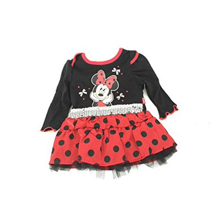 [P] Disney Infant Girls' Minnie Mouse Party T-shirt Top with Printed Flounce Dress 3/6M (Minnie Mouse Party Dress)