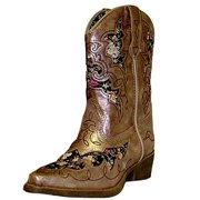 Laredo Western Boots Girls Cowboy Underlays Kids Gold Metallic LC2236
