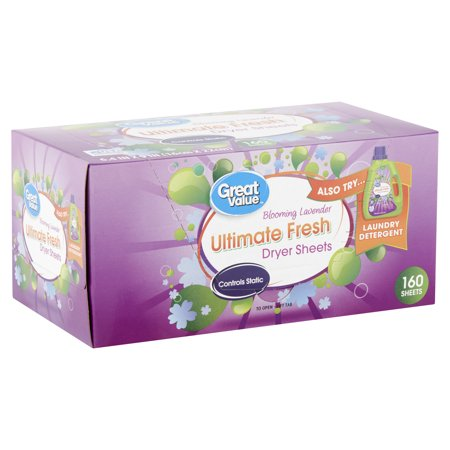 Best Great Value Ultimate Fresh Dryer Sheets, Blooming Lavender, 160 Count deal