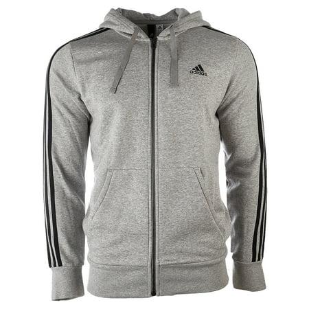 Adidas Essentials 3-Stripe Full Zip Fleece Hoodie - Medium Grey  Heather/Black - Mens - XL