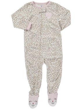Girls' L/S Footed Blanket Sleeper - Leopard - 4