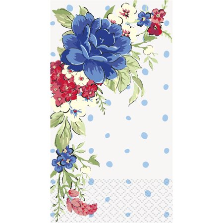 Pioneer Woman Red White and Blue Floral Patriotic Paper Guest Napkins, 7.75in x 4.5in, 24ct