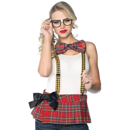 Leg Avenue 3 Piece Nerd Costume Kit Includes Suspenders Bow Tie and Glasses, Multicolor, One Size - Halloween Boosie