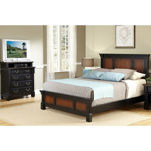 Home Styles The Aspen Collection King Bed and Media Chest, Rustic Cherry/Black