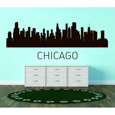 Custom City Wall Map - Custom Wall Decal Chicago United States Major City Geographical Map Landmark - Vinyl Wall - 15x45