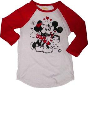 074d52742 Product Image Womens Disney Mickey Minnie Mouse Kiss Raglan Tee Shirt  Holiday T-Shirt