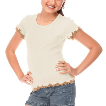 Lettuce Edge Shirt - Kavio! Big Girls 7-16 Lettuce Edge Short Sleeve Top Nude/Camel L