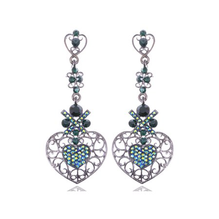 Swarovski Crystal Elements Topax and Aurora Borealis Butterfly Accent Earrings