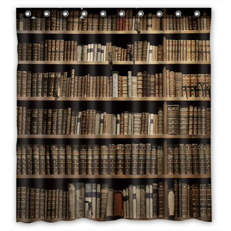 Book Shower - PHFZK Educational Shower Curtain, Old Library Books Bookshelf Polyester Fabric Bathroom Shower Curtain 66x72 inches