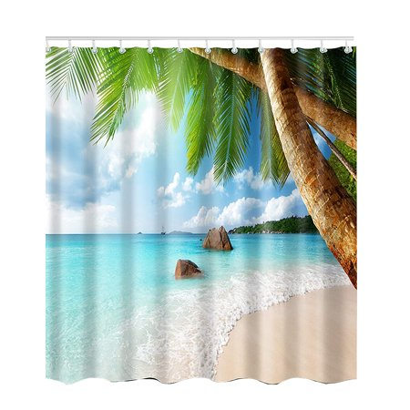 Palm Desert Shower Curtain - Bathroom 3D Tropical Beach Palm Trees Scenery Waterproof Shower Curtain 71 X 71 Inch