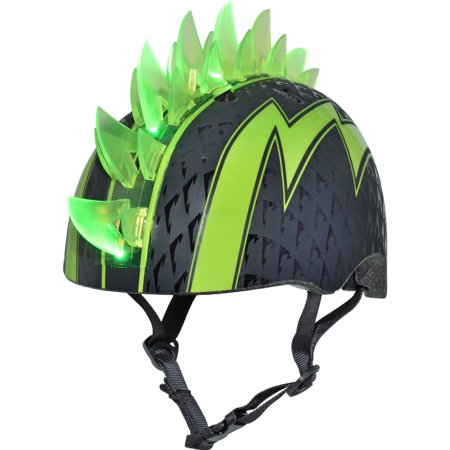 Raskullz Bolt LED Green Bike Helmet, Child 5+ (50-54cm) - Kids Steelers Helmet