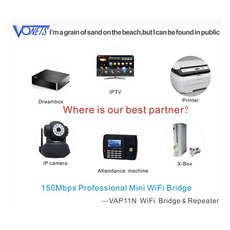 Wireless Mini Wifi Bridge/Repeater the Best Partner of IP Device/IP Camera/IP Printer/xbox/ps3/Dreambox Professional Wifi Bridge Specification:VAP11N - image 4 de 8
