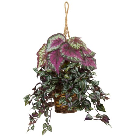 Nearly Natural Wandering Jew and Begonia Silk Hanging (Best Begonias For Hanging Baskets)