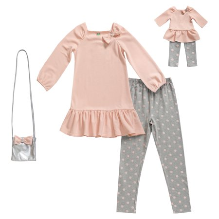 Polka Dot Ruffle Legging - Bow Tunic, Polka Dot Legging and Purse, 3-Piece Outfit Set with Matching Doll Outfit (Little Girls & Big Girls)