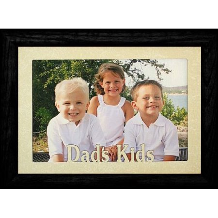5X7 Jumbo ~ Dad's Kids Landscape Picture Frame ~ Laser Cream Marbled Mat With Black - Cream Laser