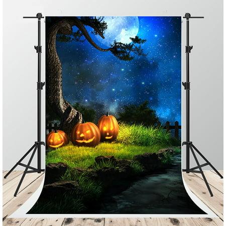 GreenDecor Polyester Fabric 5x7ft Halloween Night Photography Backdrops Blue Sky Moon Background Photo Pumpkin Backdrop Booth](Halloween Sky Background)