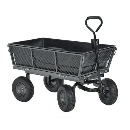 Muscle Carts Steel Dump Cart with Removable Sides and Full Bed Liner/Cover (Tool Cart Liner)