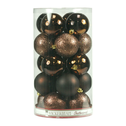 "Vickerman 4"" Chocolate 4-Finish Ball Ornament Assortment, Set of 12"