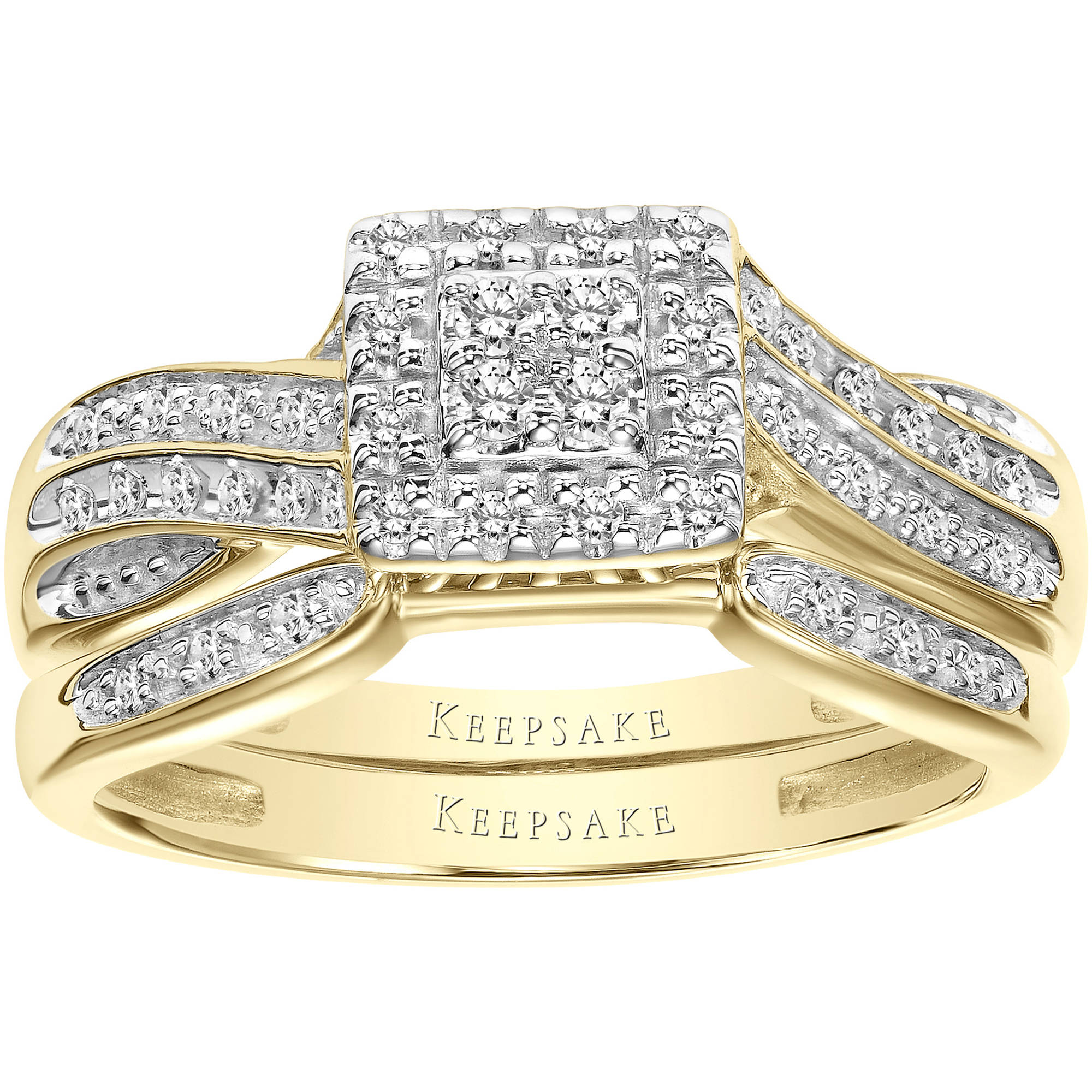 Keepsake Infinite 1 4 Carat T.W. Certified Diamond 10kt Yellow Gold Bridal Set by Frederick Goldman Inc.