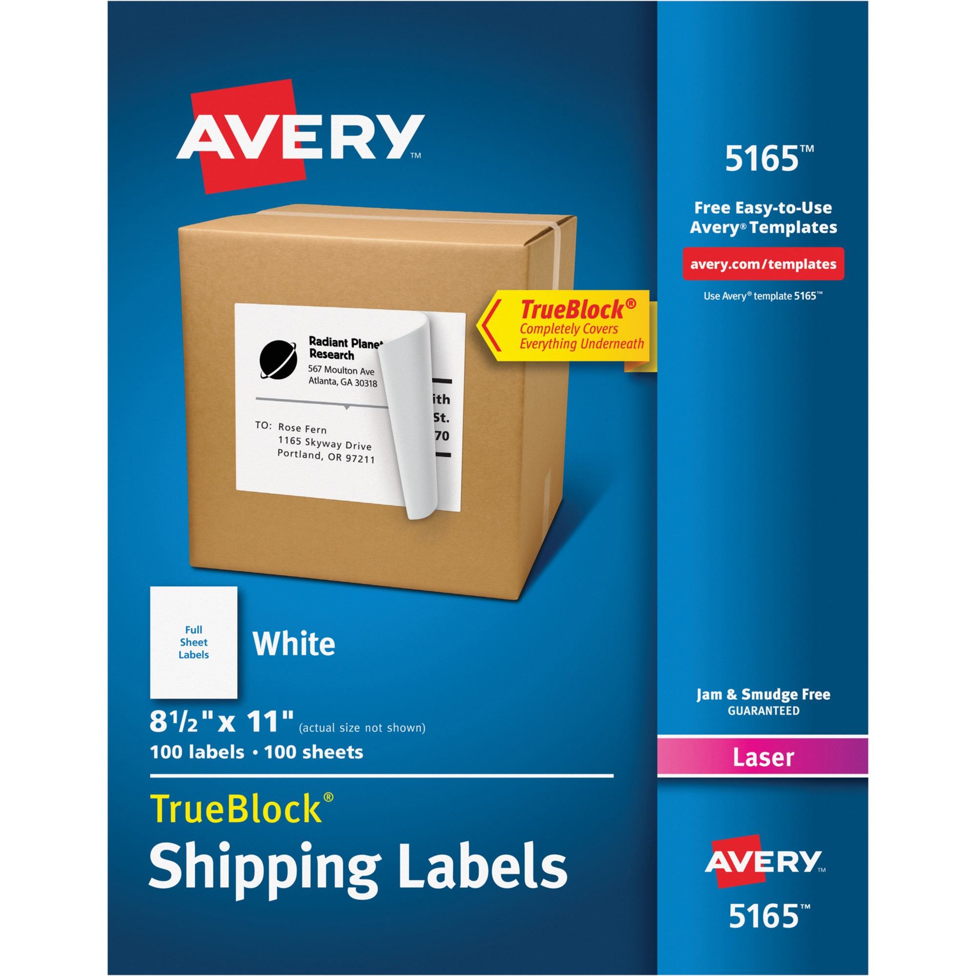 Avery Shipping Labels with TrueBlock Technology for Laser Printers, 8.5 x 11 in., White, 100 Count (5165)