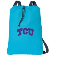 Canvas TCU Drawstring Backpack Aqua Natural Cotton Texas Christian Cinch Bag with Wide Straps