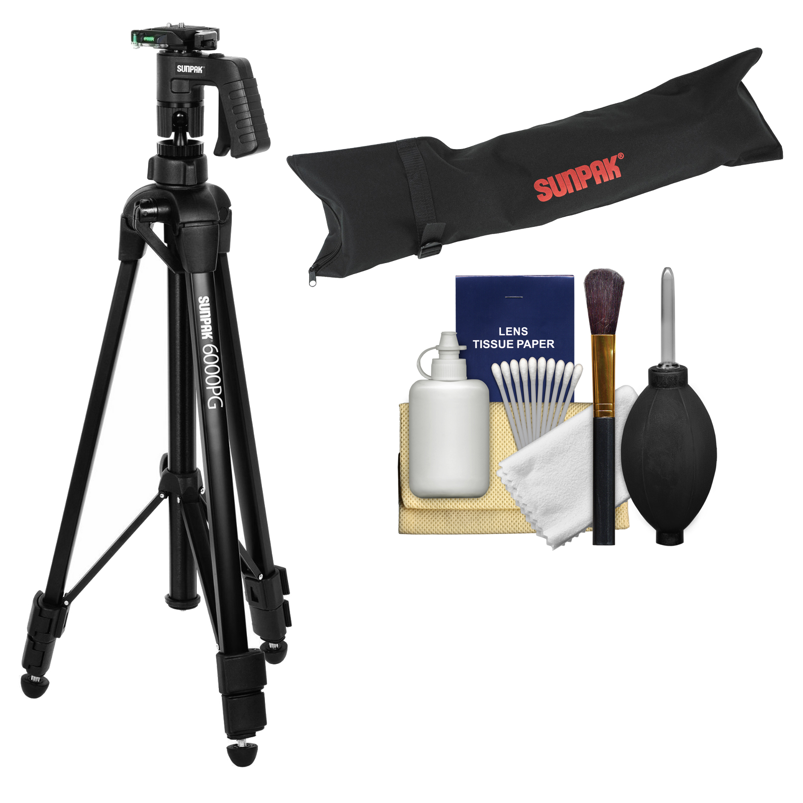 "Sunpak 61"" 6000PG Aluminum Tripod with Pistol Grip Ball Head with Case Kit"