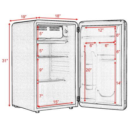 3.2 Cu Ft Retro Compact Refrigerator w/ Freezer Interior Shelves Handle - image 9 of 10