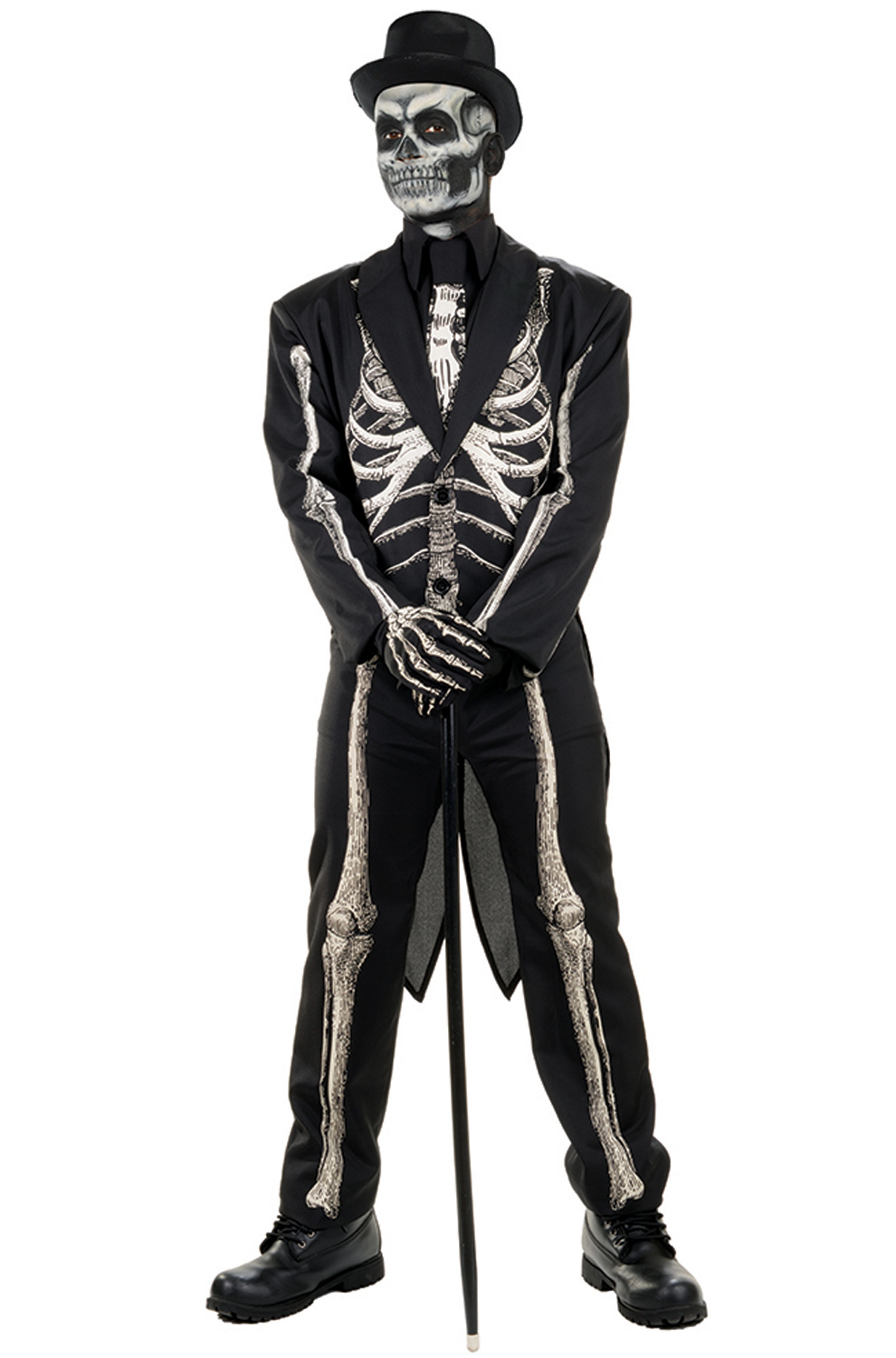 Bone Chillin Mens Voodoo Witch Doctor Skeleton Suit Halloween Costume Walmart Com Walmart Com