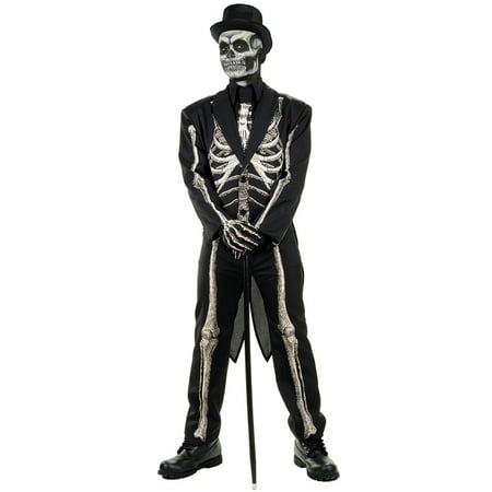 Bone Chillin Mens Voodoo Witch Doctor Skeleton Suit Halloween Costume