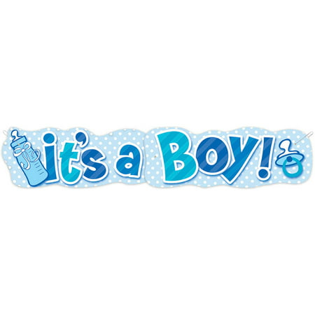 Paper It's a Boy Baby Shower Banner, 4.5 ft, Blue, - Boy Baby Shower Banners