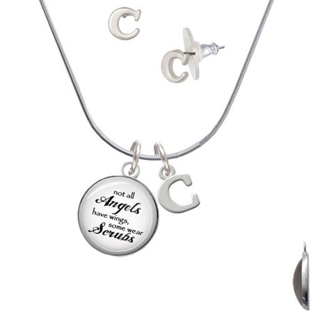 Right Angle Stud - Domed Angels Wear Scrubs - C Initial Charm Necklace and Stud Earrings Jewelry Set