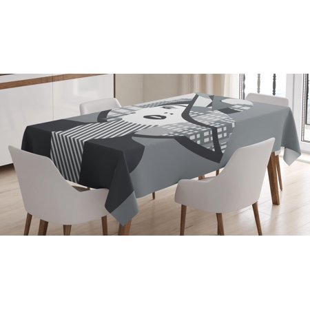 Diva Tablecloth, Sexy Woman Figure Wearing Hat with City Silhouette in Double Exposure Style, Rectangular Table Cover for Dining Room Kitchen, 60 X 84 Inches, Grey Charcoal Grey, by Ambesonne