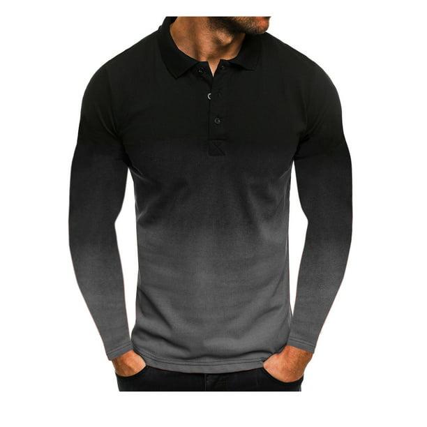 Multitrust Men's Long Sleeve 3D Tie-dye Polo Shirt